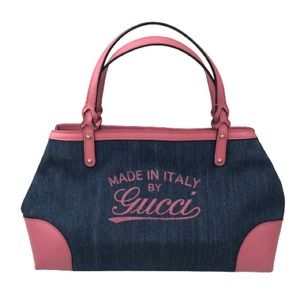 GUCCI Hawaii Tote Blue Denim Pink Leather Oversize